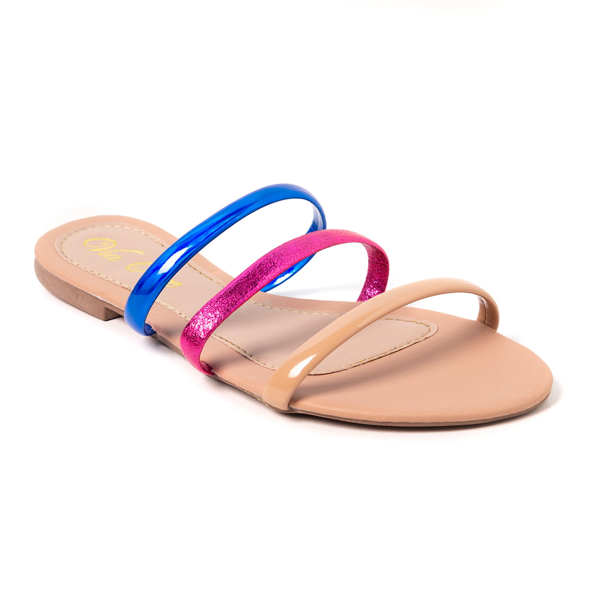 Sandália Rasteira Multicolor Napa Nude e Pink