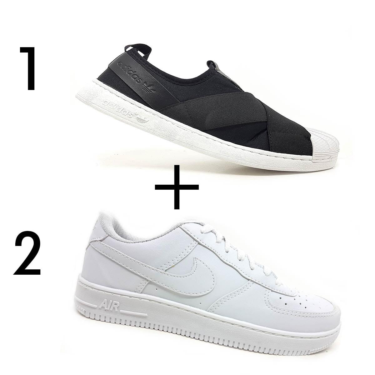 Kit 2 Tênis 1 Adidas Slip On + 1 Nike Air Force 1'07 Branco