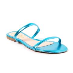 Sandália Rasteira 2 T Metalizado Azul