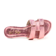 Sandália Rasteira H Metalizado Rosê