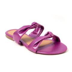 Sandália Rasteira Laço Metalizado Pink
